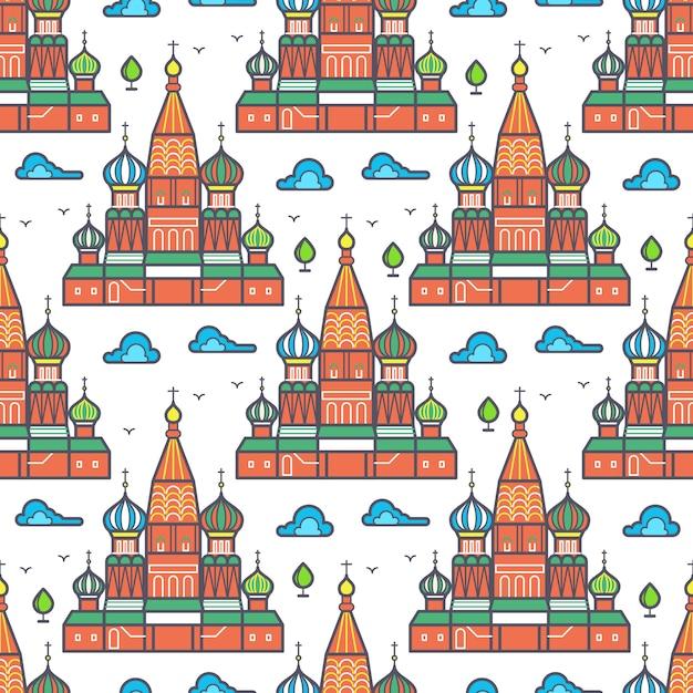 Projeto sem emenda do teste padrão do cathedrale famoso de moscou - textura do marco do russo. ilustração vetorial Vetor Premium