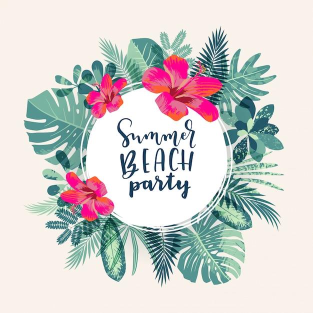 Projeto tropical da selva do partido da praia do verão Vetor Premium
