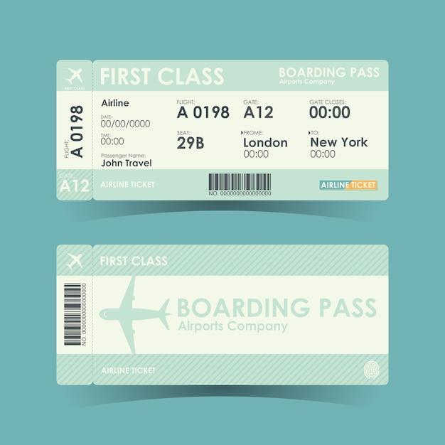 Projeto verde dos bilhetes da passagem de embarque. Vetor Premium
