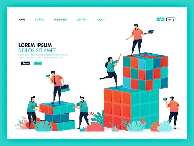 Projeto vetor de colaboração jogo rubik e trabalho em equipe. Vetor Premium
