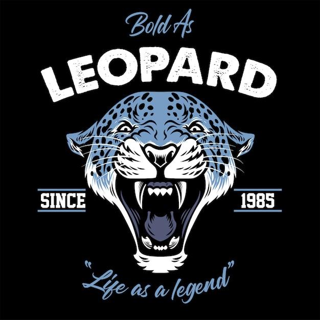 Projeto vintage da cabeça de leopardo Vetor Premium