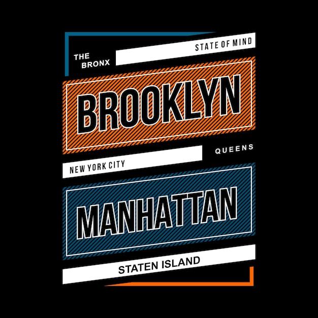 Projeto vintage tipográfico de brooklyn Vetor Premium