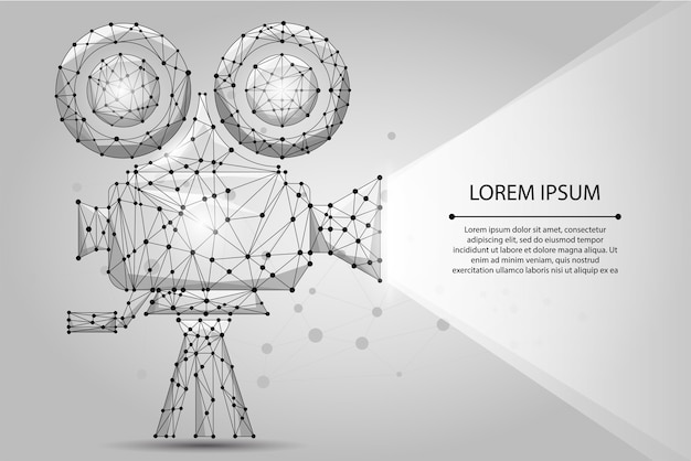 Projetor de cinema retrô poligonal abstrata. hora de filme. cinema, filme Vetor Premium