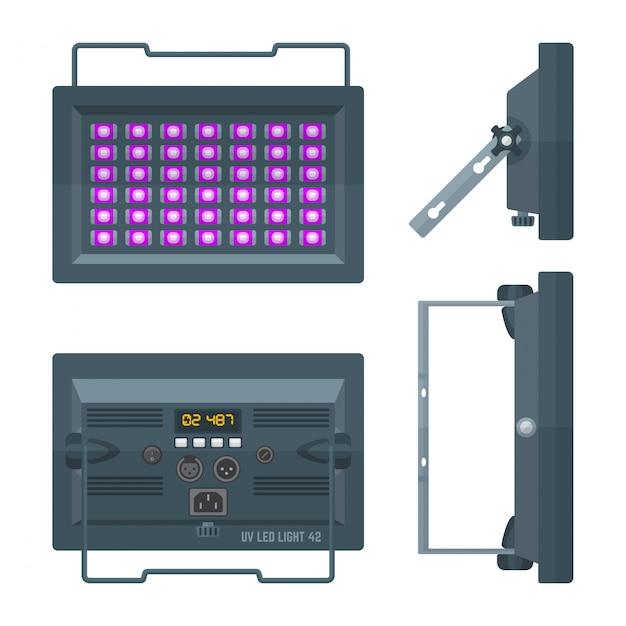 Projetor de palco profissional ultravioleta led colorido plano Vetor Premium