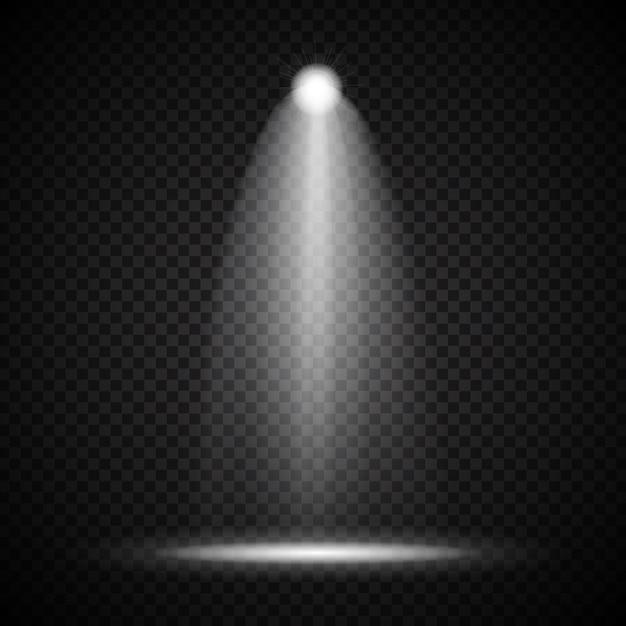 Projetores brilhantes realistas lâmpada de iluminação com refletores efeitos de iluminação com transparência Vetor Premium