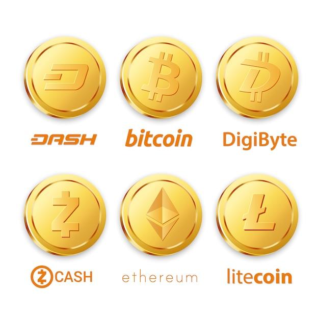 Projetos criativos de bitcoin Vetor Premium