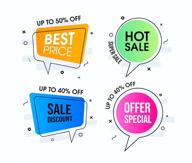 Projetos de bolhas de discurso de venda quente moderno Vetor Premium
