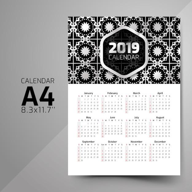 Projetos de calendário padrão preto e branco Vetor Premium