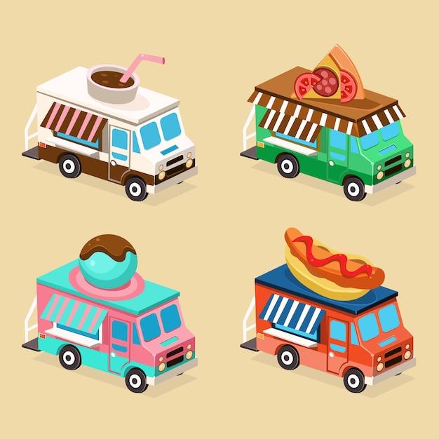 Projetos de caminhão de comida. conjunto de ilustrações planas. Vetor Premium