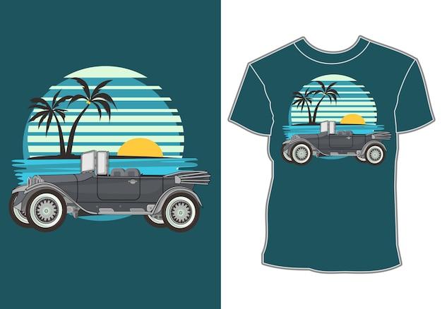 Projetos de camisetas com temas de verão e carros clássicos, retrô e antigos Vetor Premium