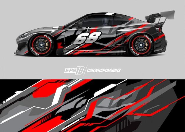 Projetos de decalque de carros de corrida Vetor Premium