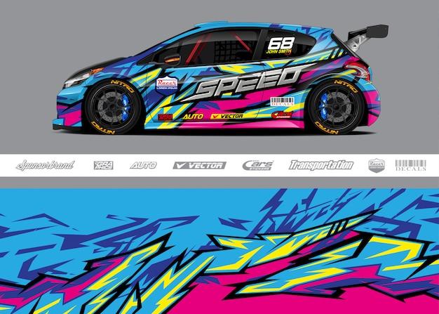 Projetos de decoração de carros de corrida Vetor Premium