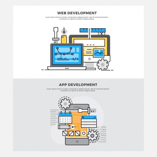 Projetos de desenvolvimento web e de aplicativos Vetor grátis