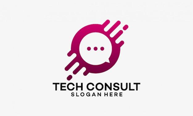 Projetos de modelo de logotipo de consultoria de tecnologia Vetor Premium