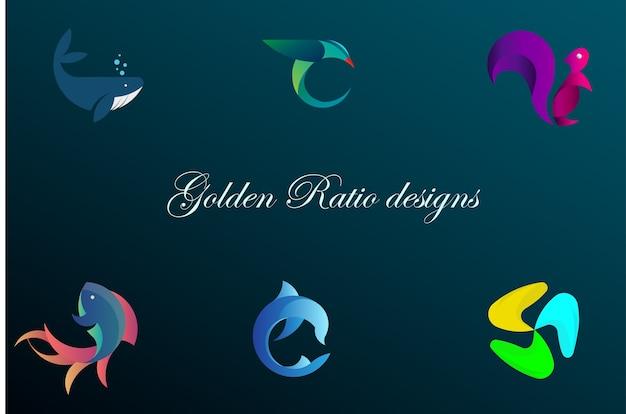 Projetos de proporção dourada Vetor Premium