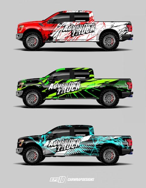 Projetos modernos de aventura para caminhão embrulhado Vetor Premium