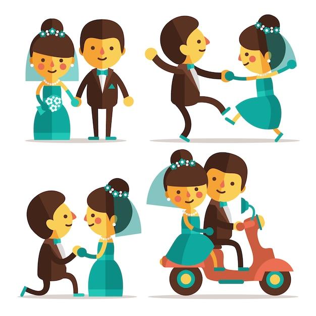 Projetos pares do casamento Vetor grátis