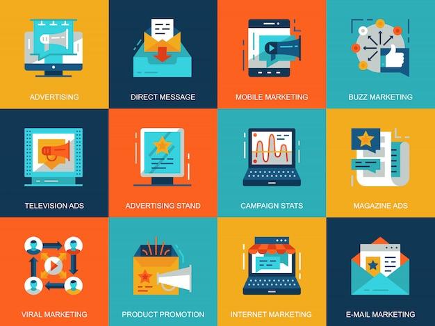 Promo conceitual plana e conjunto de conceitos de ícones de publicidade Vetor Premium
