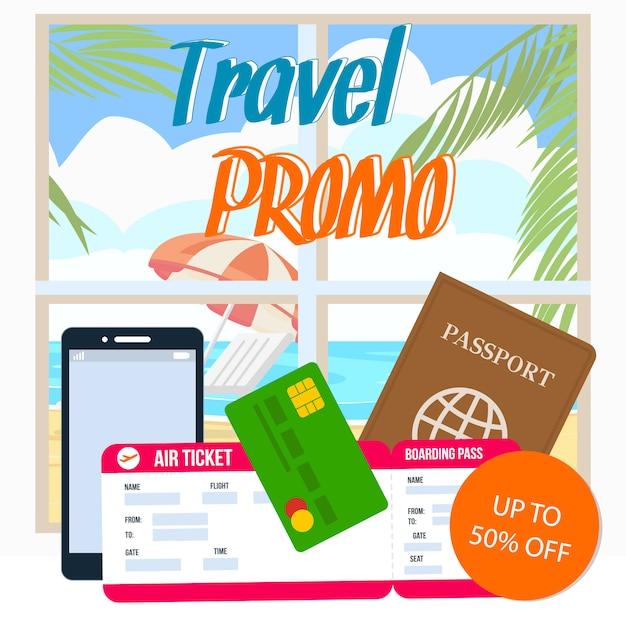 Promo de viagem Vetor Premium