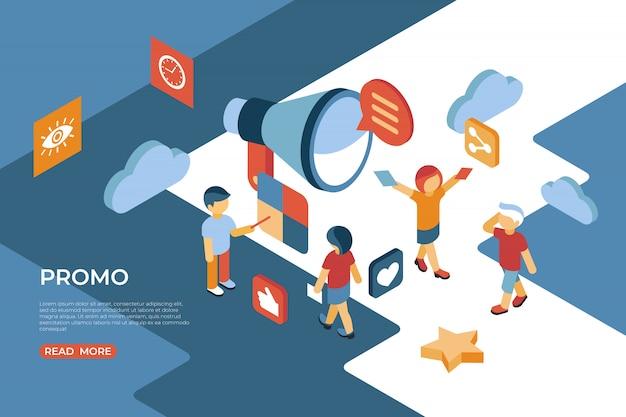 Promoção com pessoas que interagem na página de destino isométrica Vetor Premium