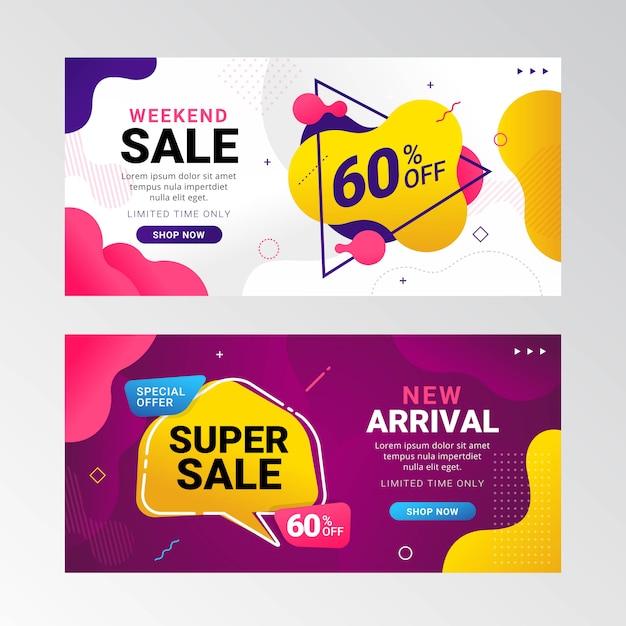 Promoção de banner de venda colorido com gradiente fluido Vetor Premium