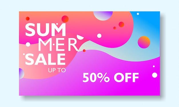 Promoção de banner de venda de verão com paisagem tropical colorida. Vetor Premium