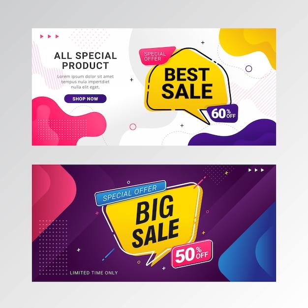 Promoção de banner grande venda com bolha do discurso Vetor Premium
