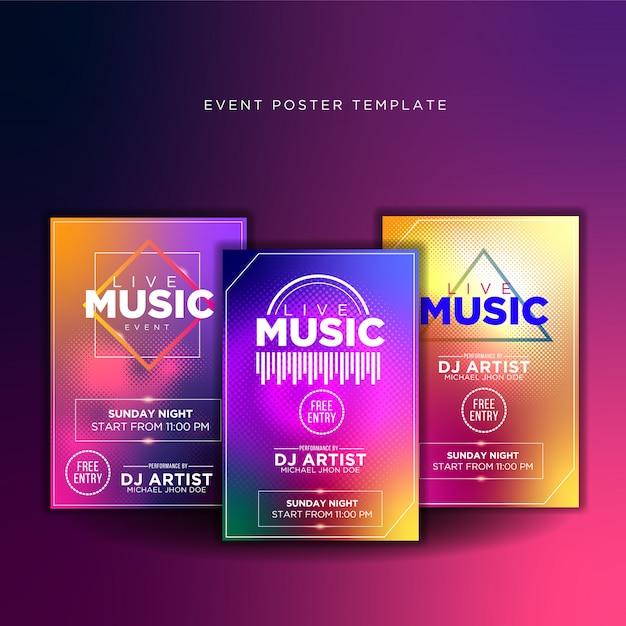 Promoção de design de poster de música ao vivo Vetor Premium