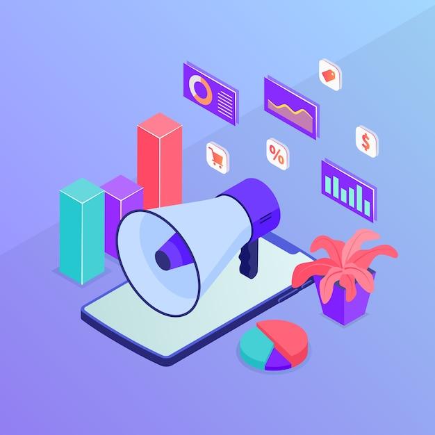 Promoção de marketing de negócios com alto-falante megafone e gráfico gráfico com estilo moderno isométrico Vetor Premium