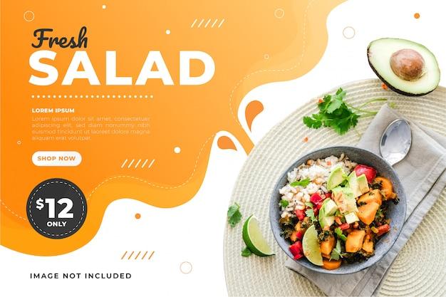 Promoção de modelo de banner de desconto de venda de alimentos Vetor Premium