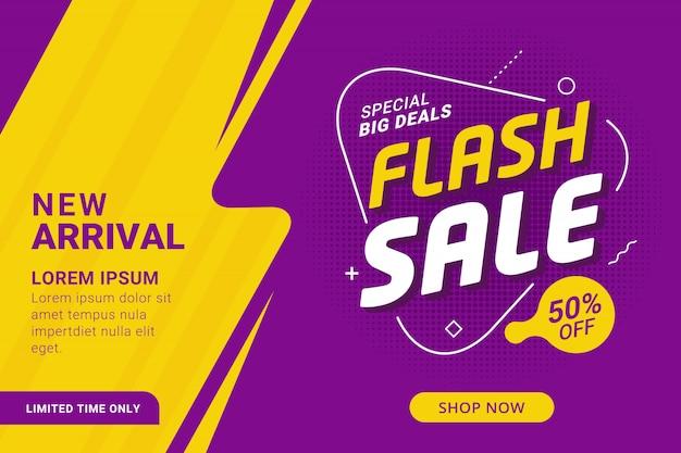 Promoção de modelo de banner de desconto de venda em flash Vetor Premium
