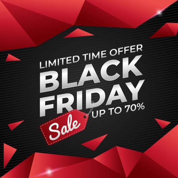 Promoção de venda de banner na sexta-feira preta com vermelho e preto Vetor Premium