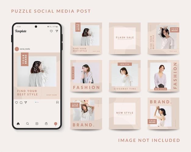 Promoção de venda de moda modelo de postagem em mídia social Vetor Premium