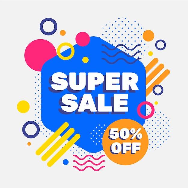 Promoção de vendas de design abstrato com 50% de desconto Vetor grátis