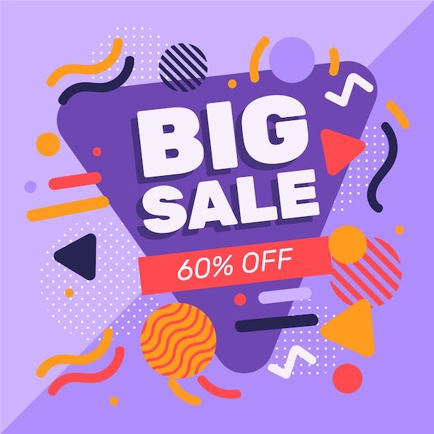 Promoção de vendas de design abstrato com 60% de desconto Vetor grátis