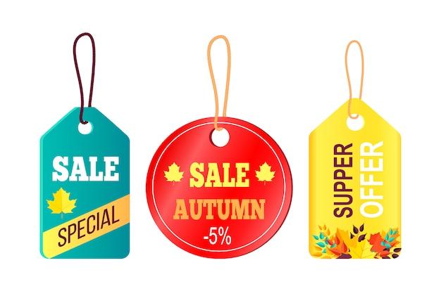 Promoção de vendas no conceito de outono, texto de suspensão de etiquetas Vetor Premium