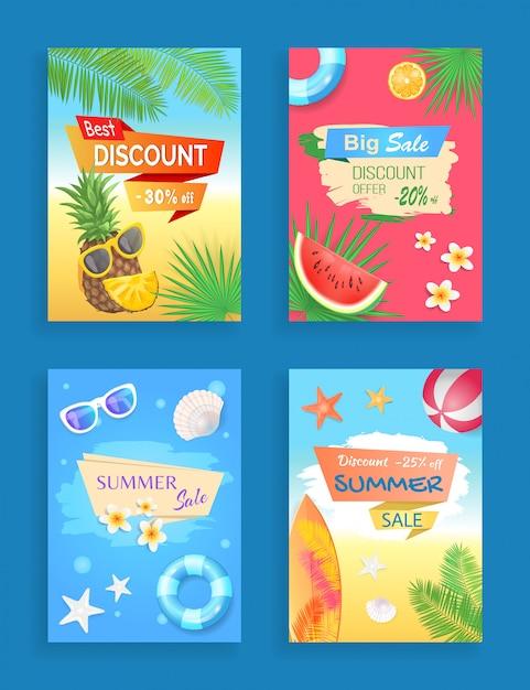 Promoção de verão venda banner conjunto de folheto Vetor Premium