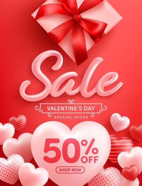 Promoção do dia dos namorados com 50% de desconto cartaz ou banner com muitos corações doces e caixa de presente em vermelho Vetor Premium