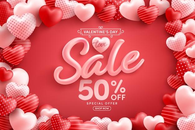 Promoção do dia dos namorados com 50% de desconto cartaz ou banner com muitos corações doces em vermelho Vetor Premium