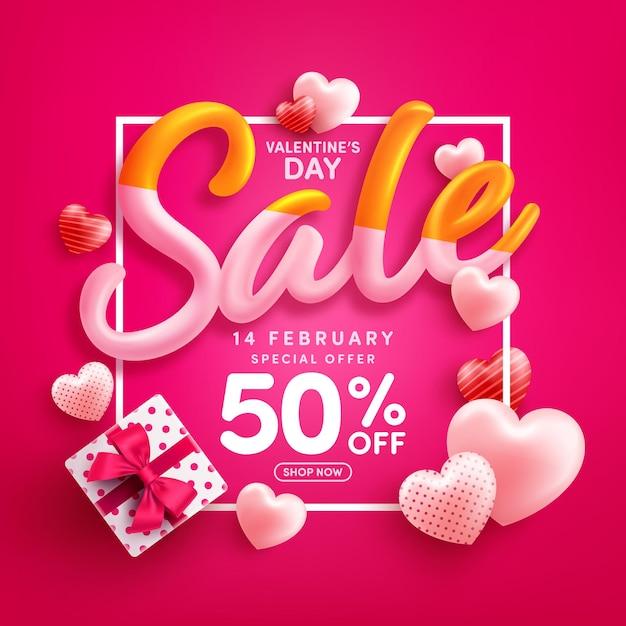 Promoção do dia dos namorados com 50% de desconto em pôster ou banner com corações doces e caixa de presente em vermelho Vetor Premium