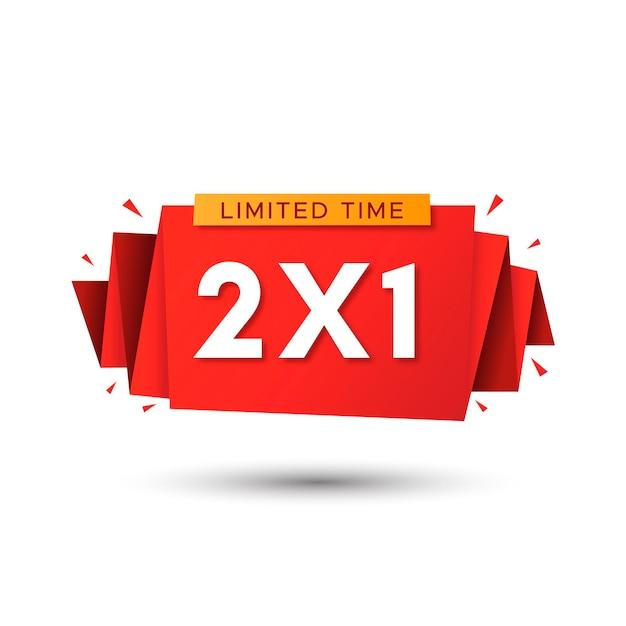 Promoção especial compre um leve dois rótulo vermelho Vetor grátis