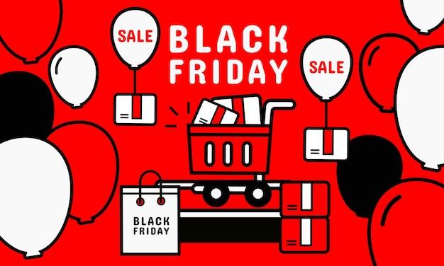 Promoção na sexta-feira negra. compras online na tela do celular Vetor Premium