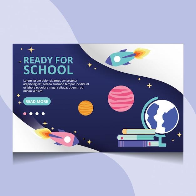 Pronto para a escola. vetor de página de destino Vetor Premium