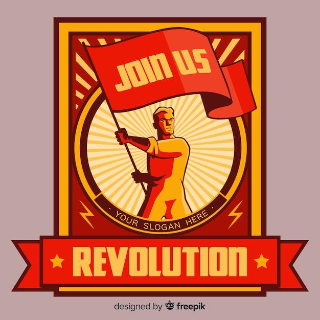 Propaganda da revolução retro Vetor grátis