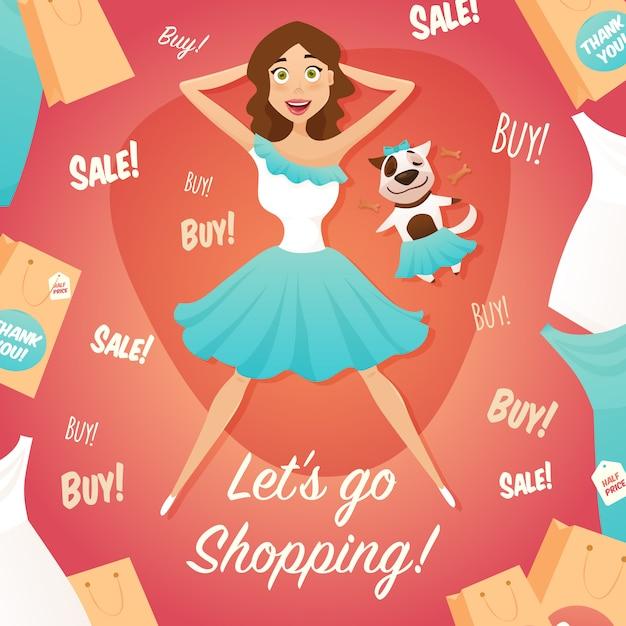 Propaganda da venda da menina da compra cartaz liso Vetor grátis