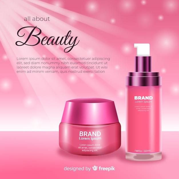 Propaganda realística da venda cosmética da beleza Vetor grátis