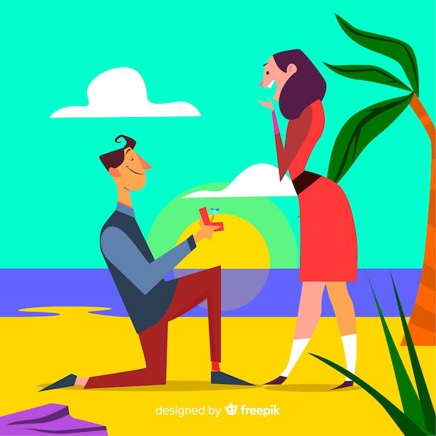 Proposta de casamento linda com estilo cartoon Vetor grátis