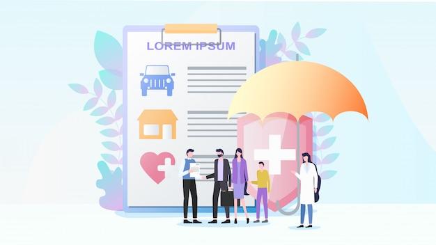 Propriedade total e seguro de saúde vector plana Vetor Premium