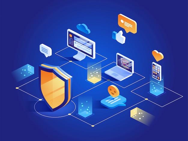 Proteção de dados de segurança isométrica Vetor Premium
