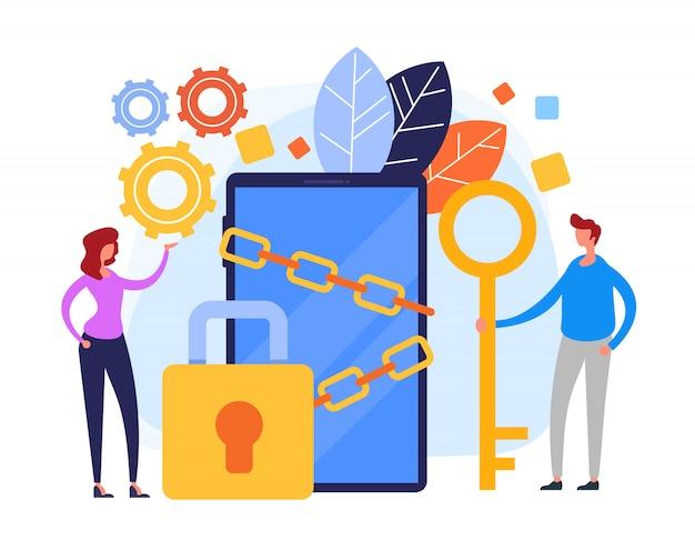 Proteção de dados online Vetor Premium